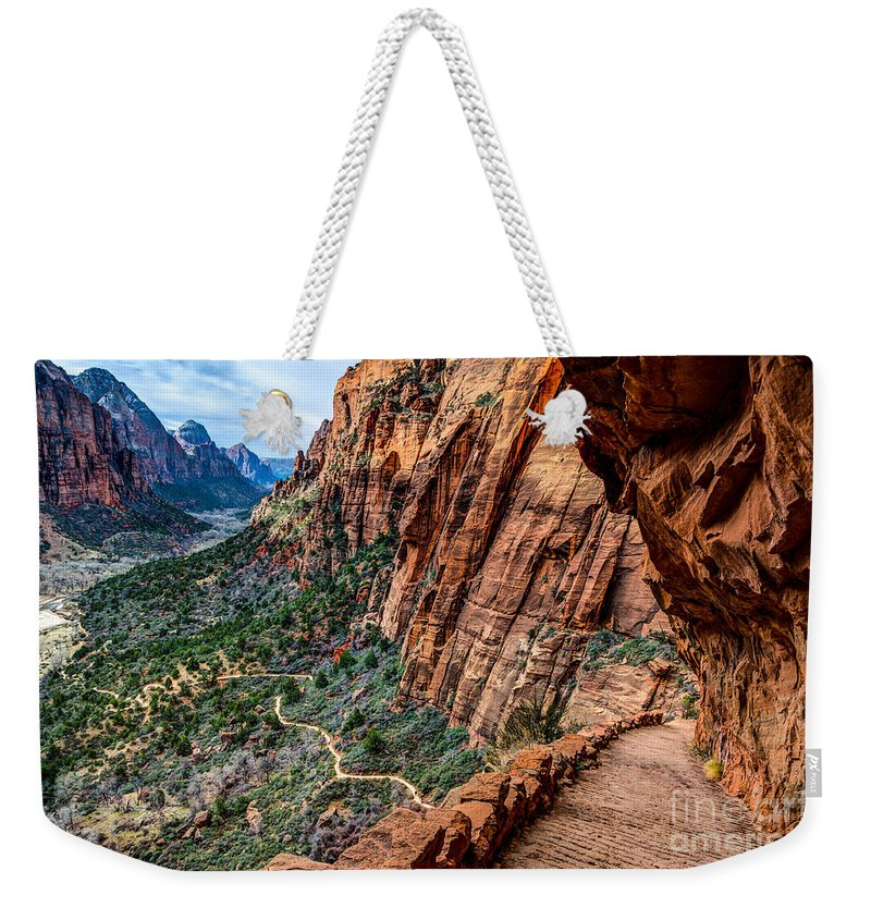 Angels Landing Weekender Tote Bag featuring the photograph Angels Landing Trail From High Above Zion Canyon Floor by Gary Whitton