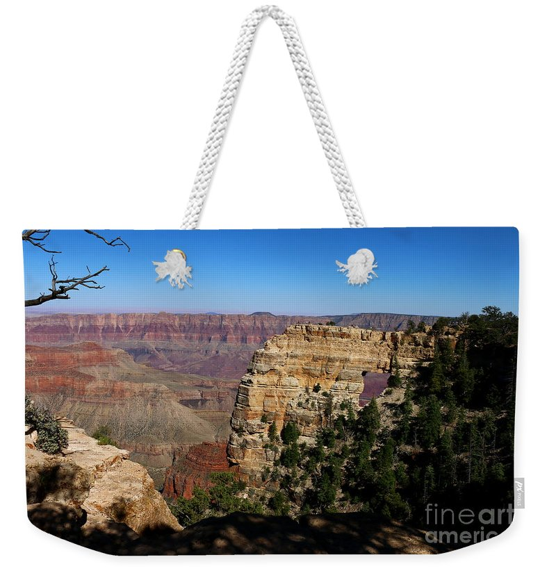 Cape Final Weekender Tote Bag featuring the photograph Angel's Window Grand Canyon North Rim by Christiane Schulze Art And Photography