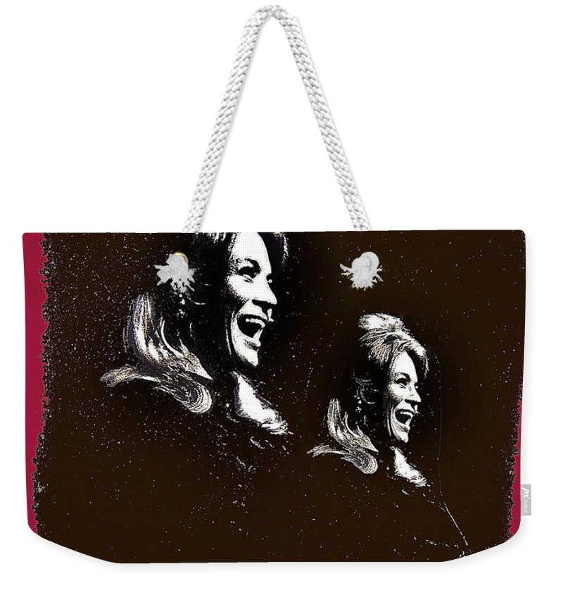 Angie Dickinson Laughing Collage Young Billy Young Set Old Tucson Arizona 1968 Color Added Weekender Tote Bag featuring the photograph Angie Dickinson Laughing Collage Young Billy Young Set Old Tucson Arizona 1968-2013 by David Lee Guss