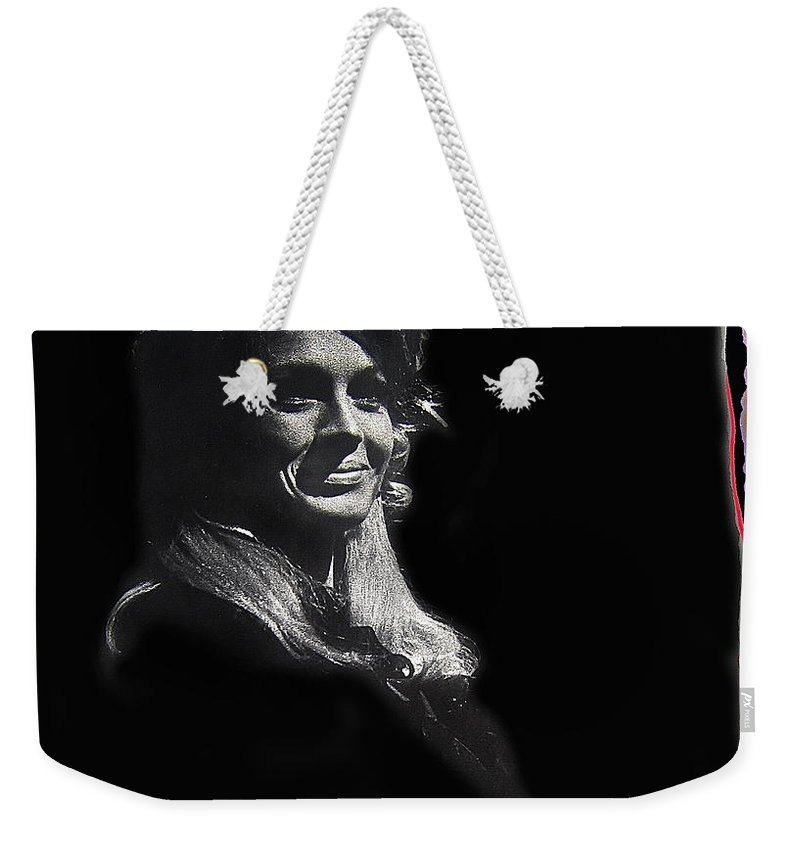 Angie Dickinson Smiling Young Billy Young Set Old Tucson Arizona 1968 Color Drawing Added Weekender Tote Bag featuring the photograph Angie Dickinson Smiling Young Billy Young Set Old Tucson Arizona 1968-2013 by David Lee Guss
