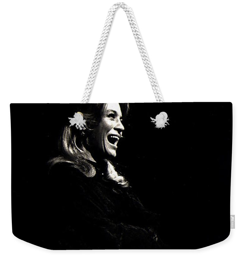 Angie Dickinson Young Billy Young Old Tucson Arizona Robert Mitchum John Wayne Black And White Laughing Weekender Tote Bag featuring the photograph Angie Dickinson Young Billy Young Old Tucson Arizona 1968 by David Lee Guss