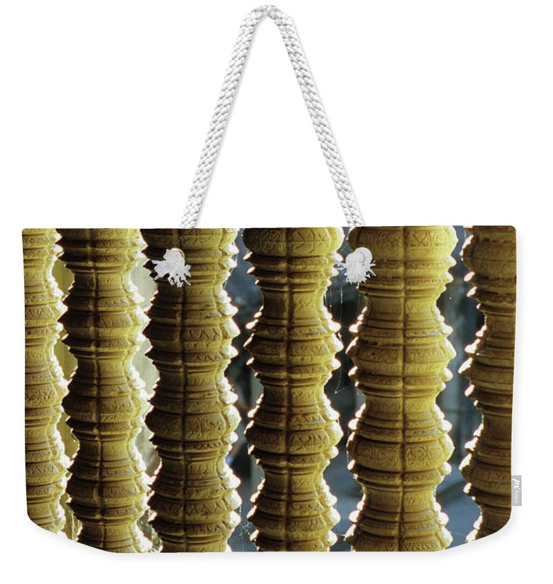 Angkor Weekender Tote Bag featuring the photograph Angkor Wat Colonnettes 01 by Rick Piper Photography