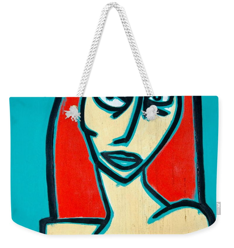 Oil Weekender Tote Bag featuring the painting Angry Jen by Thomas Valentine