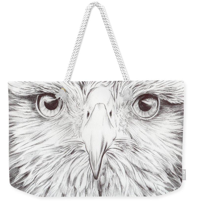 Birds Art Weekender Tote Bag featuring the drawing Animal Kingdom Series - Bird Of Prey by Bobbie S Richardson