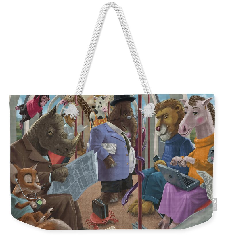 Commute Weekender Tote Bag featuring the painting Animals On A Tube Train Subway Commute To Work by Martin Davey