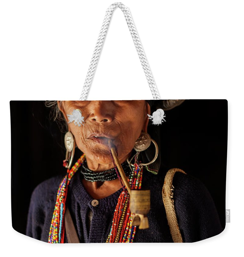 Smoking Weekender Tote Bag featuring the photograph Ann Tribe Woman, Kyaing Tong, Golden by Peter Adams