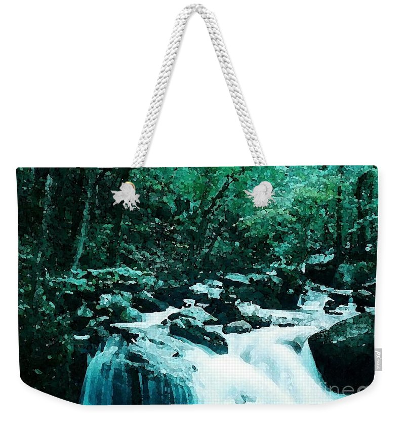 Anna Ruby Falls Weekender Tote Bag featuring the photograph Anna Ruby Falls Watercolor Effect by Laurie Eve Loftin