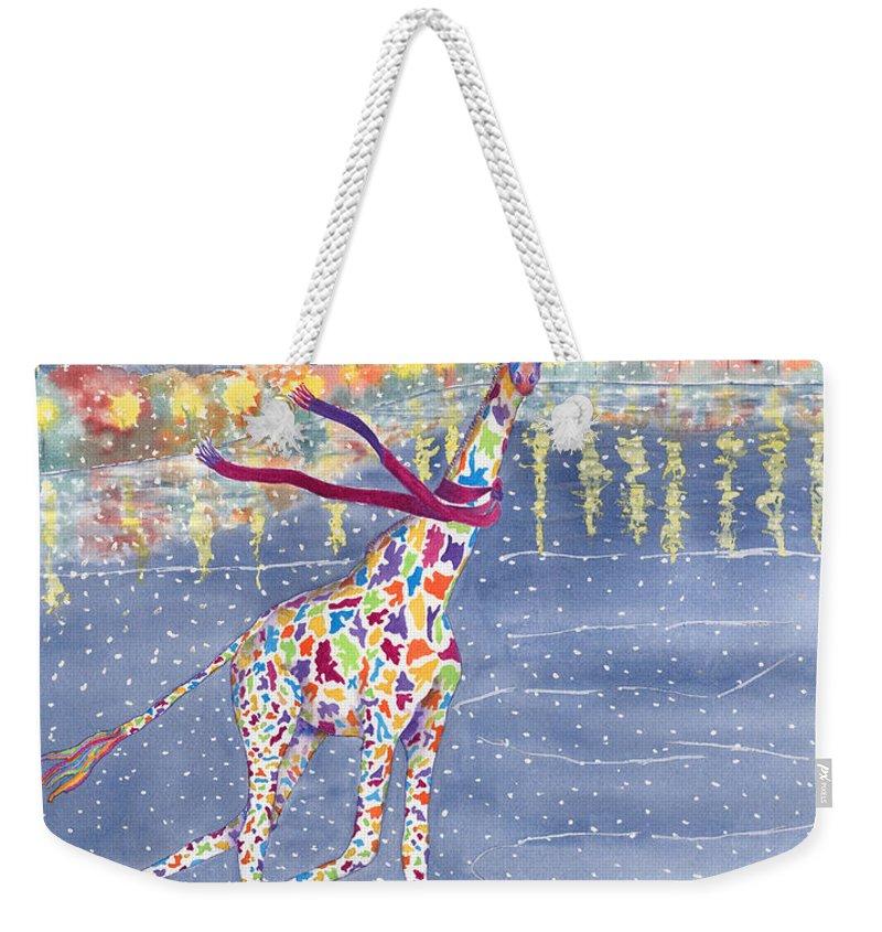 Giraffe Weekender Tote Bag featuring the painting Annabelle on Ice by Rhonda Leonard