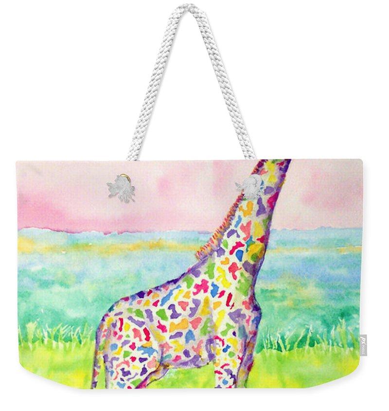 Giraffe Weekender Tote Bag featuring the painting Annabelle by Rhonda Leonard