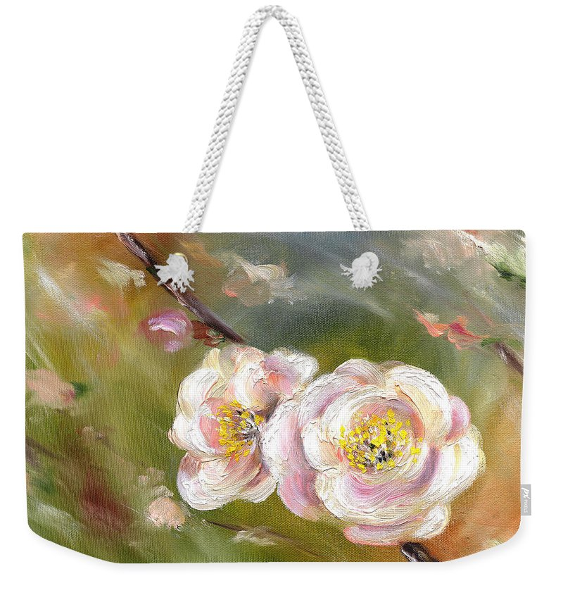 Flower Weekender Tote Bag featuring the painting Anniversary by Hiroko Sakai