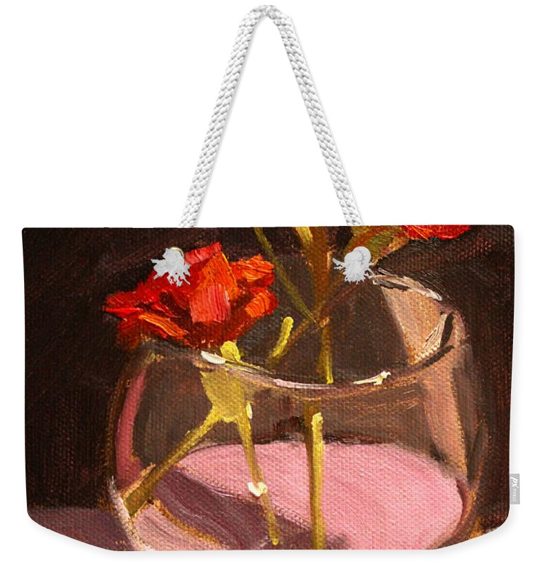 Anniversary Weekender Tote Bag featuring the painting Anniversary by Nancy Merkle