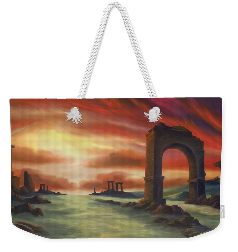 Sunset Weekender Tote Bag featuring the painting Another Fallen Empire by James Christopher Hill
