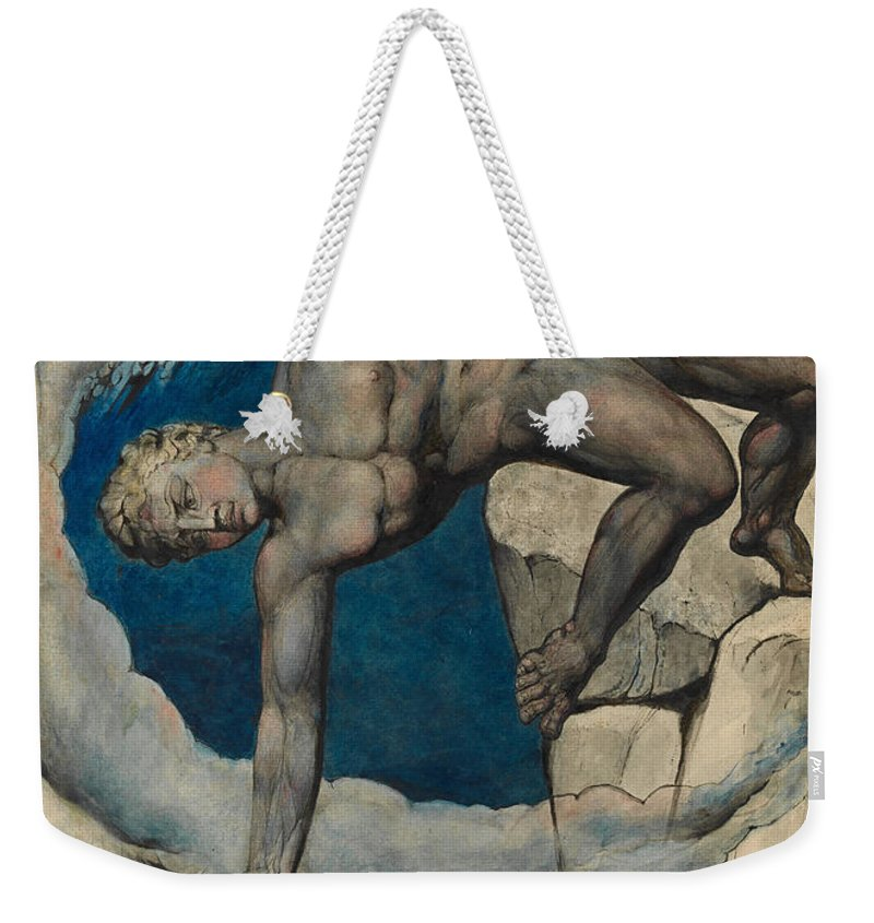 William Blake Weekender Tote Bag featuring the painting Antaeus Setting Down Dante And Virgil In The Last Circle Of Hell by William Blake