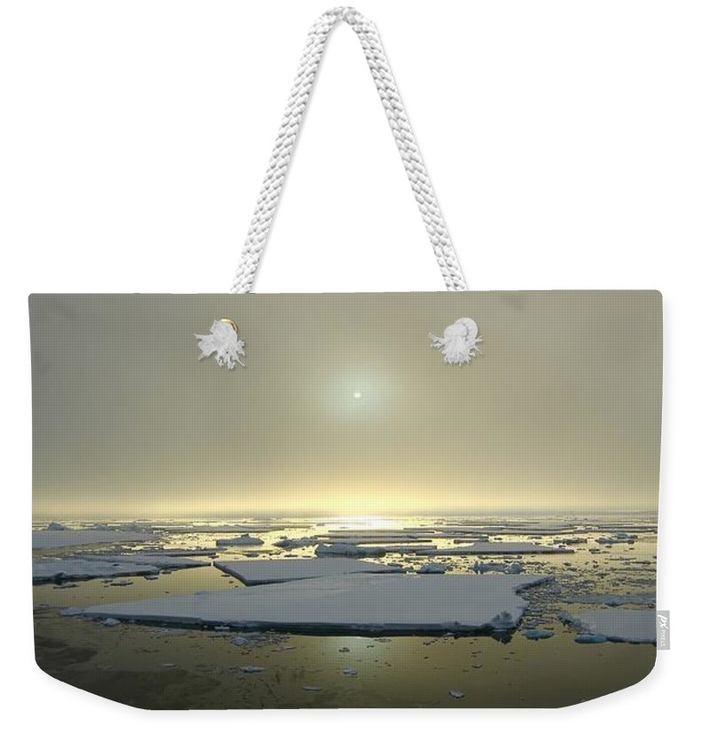 Antarctica Weekender Tote Bag featuring the photograph Antarctic Misty Sunset by FireFlux Studios