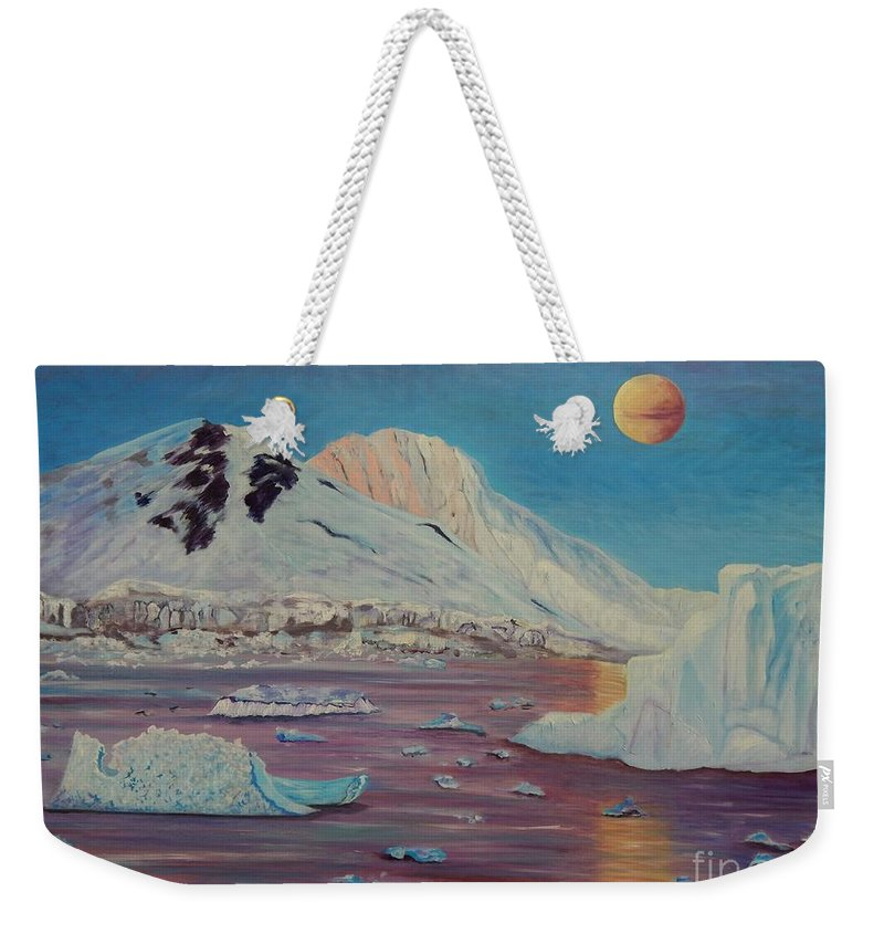 Landscape Weekender Tote Bag featuring the painting Antarctica by Caroline Street