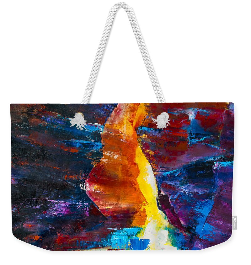 Antelope Weekender Tote Bag featuring the painting Antelope Canyon Light by Elise Palmigiani