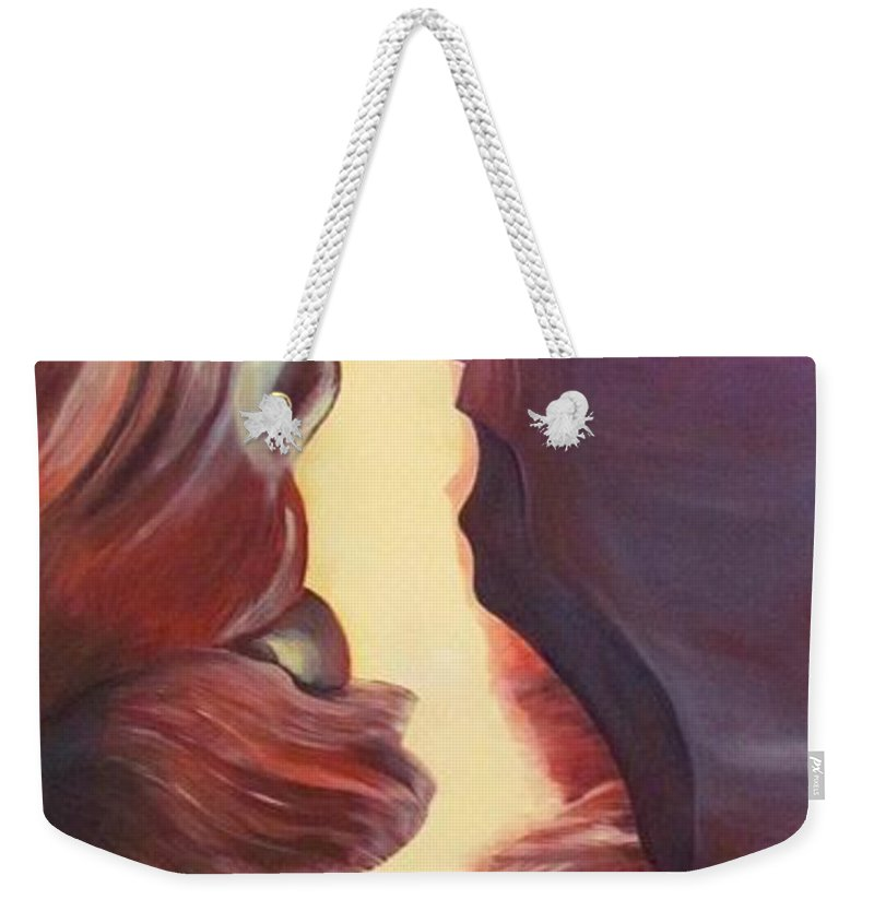 Antelope Canyon Weekender Tote Bag featuring the painting Antelope Canyon by Mandy Joy