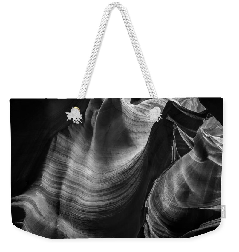 3scape Photos Weekender Tote Bag featuring the photograph Antelope Canyon Waves Black And White by Adam Romanowicz
