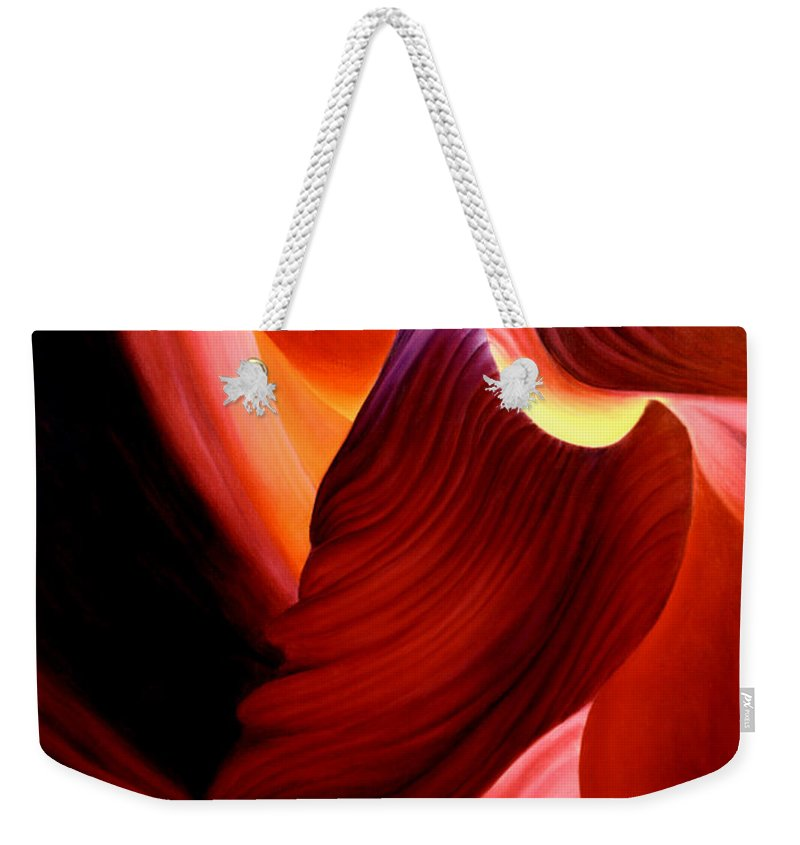 Antelope Canyon Weekender Tote Bag featuring the painting Antelope Magic by Anni Adkins