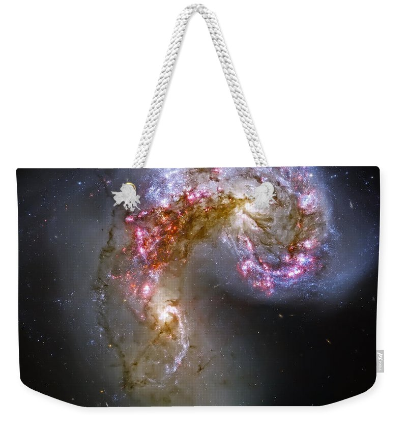 Universe Weekender Tote Bag featuring the photograph Antennae Galaxies Collide 1 by Jennifer Rondinelli Reilly - Fine Art Photography
