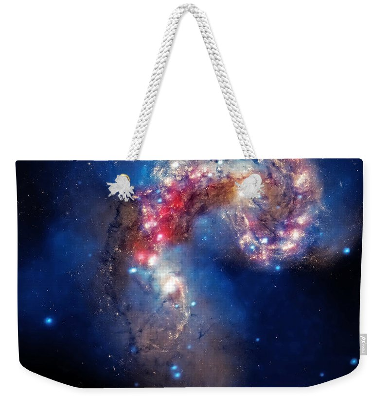 Universe Weekender Tote Bag featuring the photograph Antennae Galaxies Collide 2 by Jennifer Rondinelli Reilly - Fine Art Photography