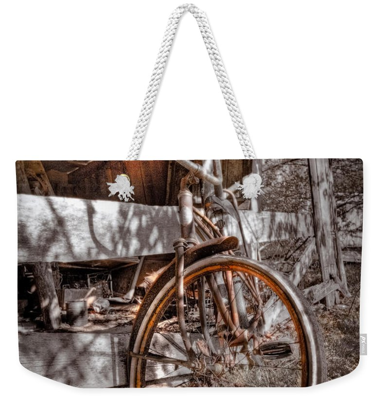 Appalachia Weekender Tote Bag featuring the photograph Antique Bicycle by Debra and Dave Vanderlaan