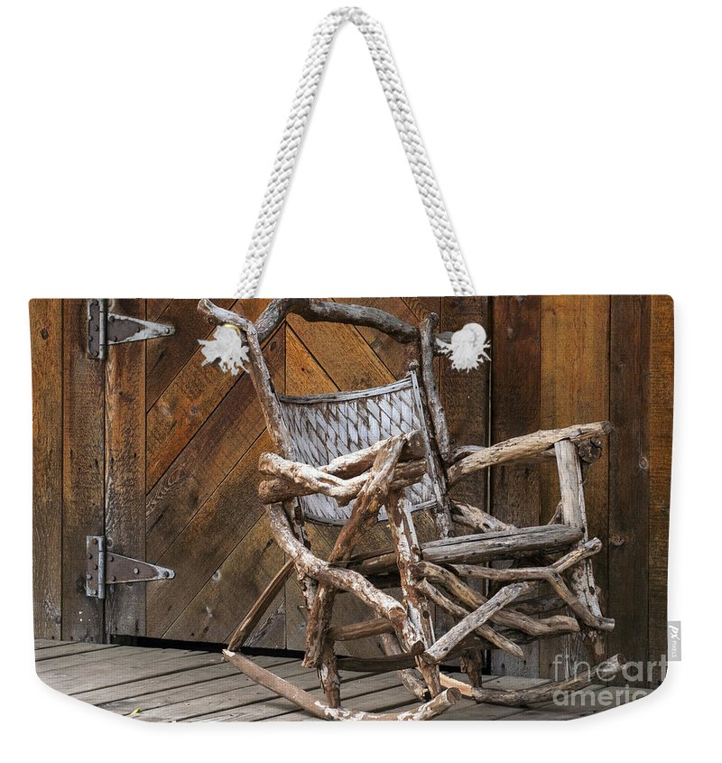 Georgetown Texas Hand Made Rocking Chair Chairs Wood Door Wooden Doors Metal Hinge Hinges Rocker Rockers Still Life Texture Textures Weekender Tote Bag featuring the photograph Antique by Bob Phillips