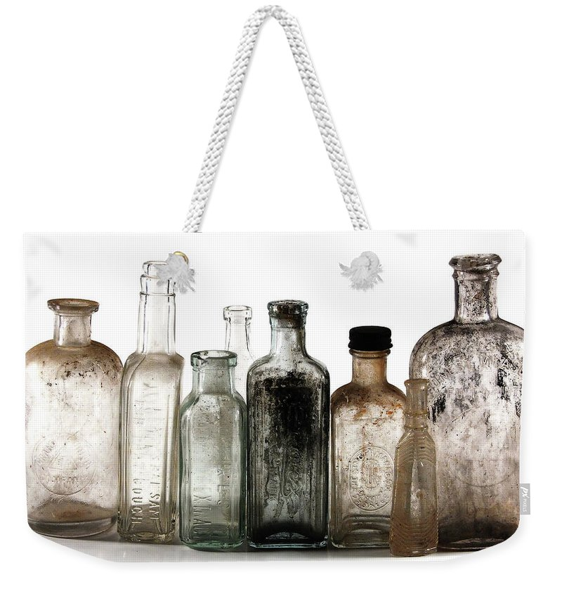 Bottles Weekender Tote Bag featuring the digital art Antique Bottles by Richard Ortolano