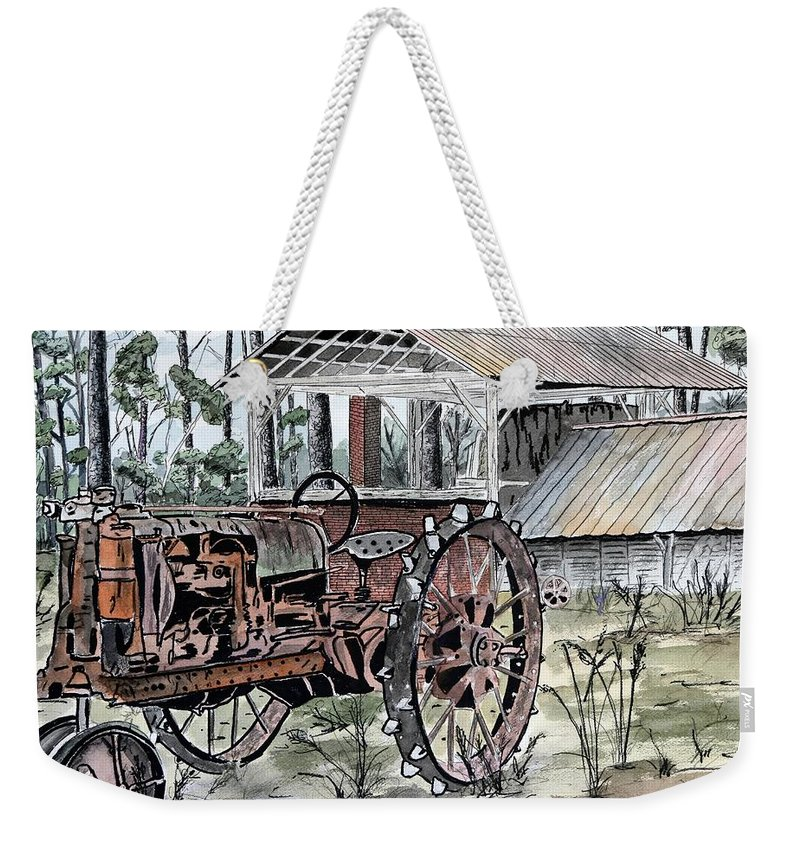 Tractor Weekender Tote Bag featuring the painting Antique Farm Tractor  by Derek Mccrea