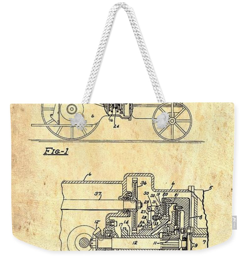 Patent Weekender Tote Bag featuring the drawing Antique Massey-ferguson Tractor Patent 1935 by Mountain Dreams