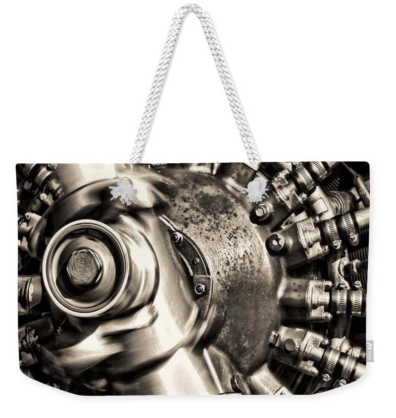 Plane Weekender Tote Bag featuring the photograph Antique Plane Engine by Olivier Le Queinec
