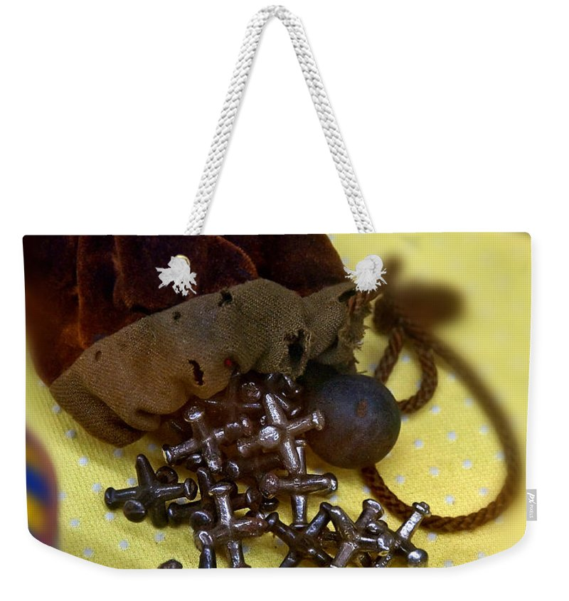Aged Weekender Tote Bag featuring the photograph Antique Pouch Of Ball And Jacks Game Art Prints by Valerie Garner