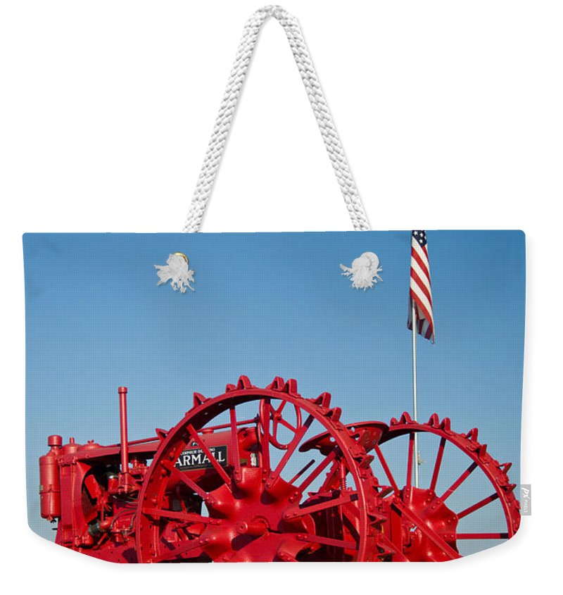 Tractor Weekender Tote Bag featuring the photograph Antique Red Tractor 2 by Douglas Barnett