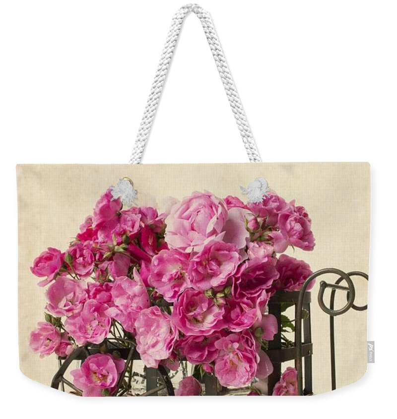 Wagon Weekender Tote Bag featuring the photograph Antique Rose Cart by Edward Fielding