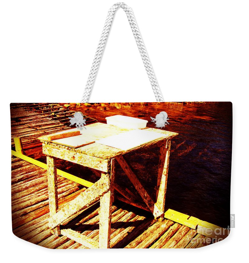 Antique Splitting Table Weekender Tote Bag featuring the digital art Antique Splitting Table by Barbara Griffin