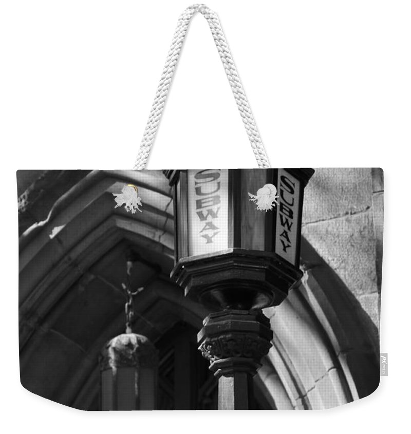 Subway Station Weekender Tote Bag featuring the photograph Antique Subway Sign by Catie Canetti