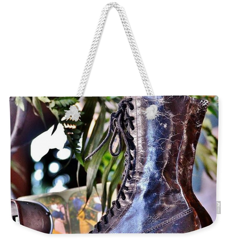 Boot Weekender Tote Bag featuring the photograph Antique Victorian Boots At The Boardwalk Plaza Hotel - Rehoboth Beach Delaware by Kim Bemis