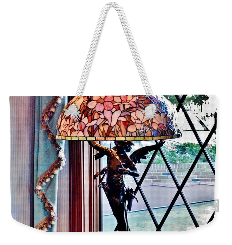 Antique Weekender Tote Bag featuring the photograph Antique Victorian Lamp At The Boardwalk Plaza - Rehoboth Beach Delaware by Kim Bemis