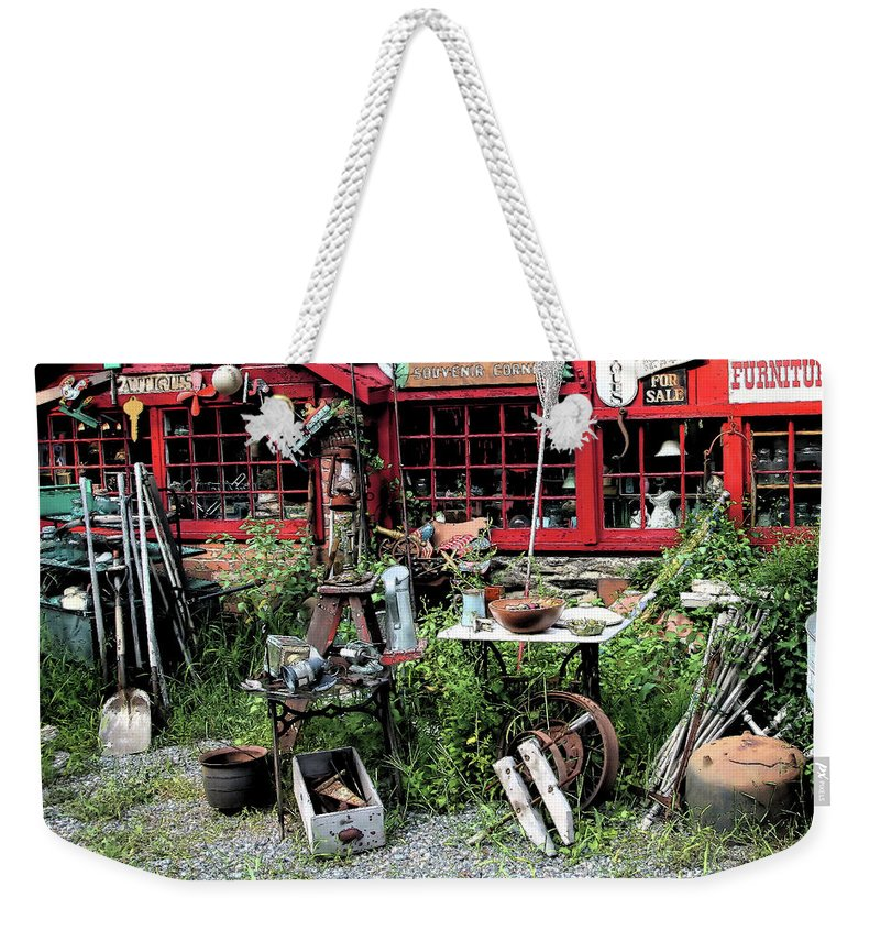 Antiques Weekender Tote Bag featuring the photograph Antiques For Sale by Karol Livote