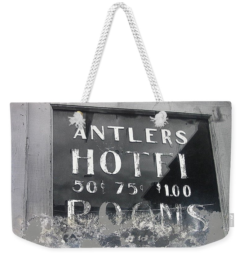 Antler's Hotel Front Door Ghost Town Victor Colorado Black And White Film Noir Weekender Tote Bag featuring the photograph Antler's Hotel Front Door Ghost Town Victor Colorado 1971 1971-2013 by David Lee Guss