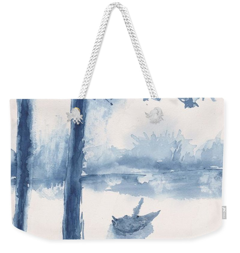Trees Weekender Tote Bag featuring the painting Antwerp Blue Landscape Watercolor by CheyAnne Sexton