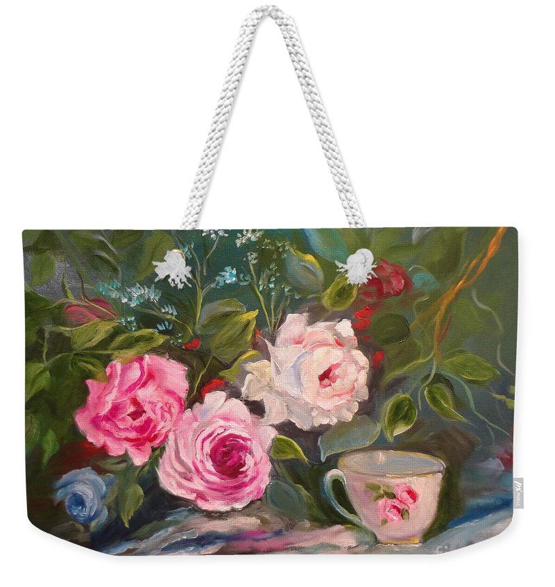 Teacup And Roses Canvas Print Weekender Tote Bag featuring the painting Anyone For Tea? by Jenny Lee