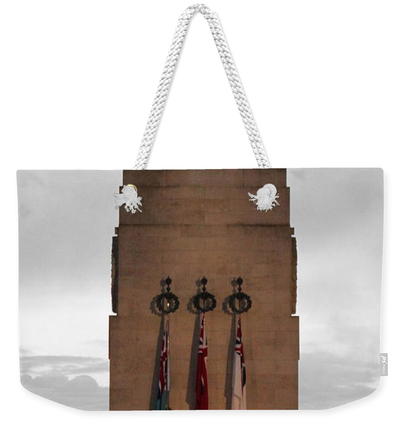 Anzac Day Weekender Tote Bag featuring the photograph Anzac Day 2014 Auckland Museum Cenotaph by Gee Lyon