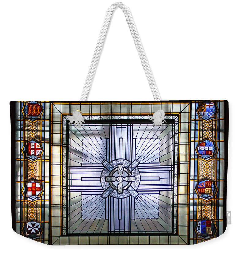 Anzac Day Weekender Tote Bag featuring the photograph Anzac Day 2014 Auckland War Memorial Museum Stained Glass Roof by Gee Lyon