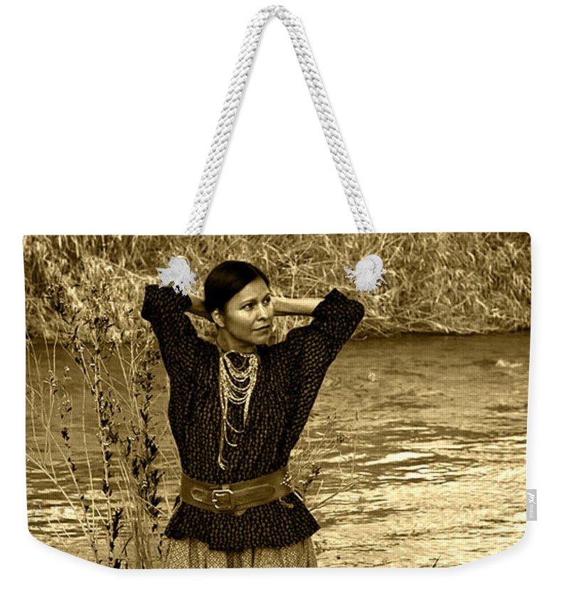 Apache Weekender Tote Bag featuring the photograph Apache River Maiden by Jean Hildebrant