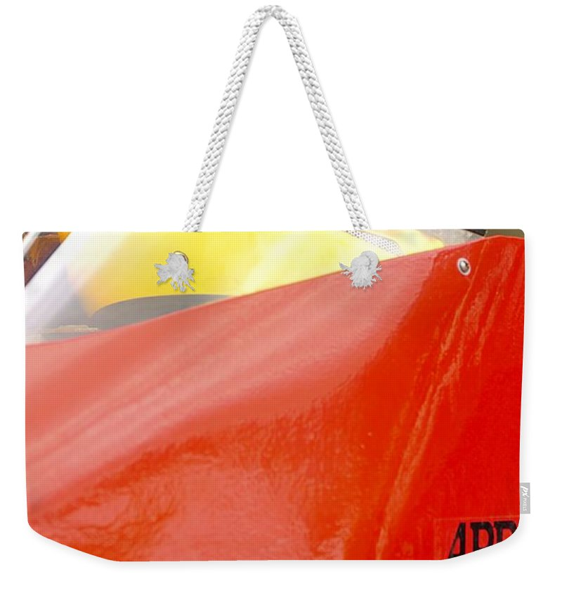 Rogers Weekender Tote Bag featuring the photograph Apba Boat And Helmet 24291 by Jerry Sodorff