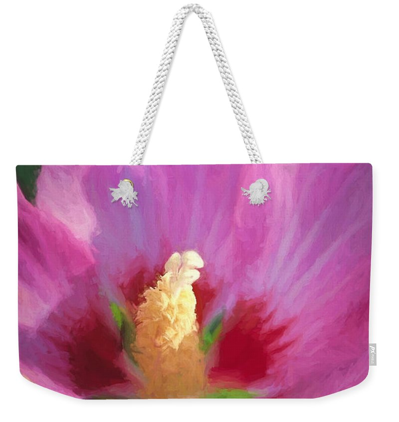 Hibiscus Weekender Tote Bag featuring the photograph Aphrodite Rose Of Sharon by Peter Hogg