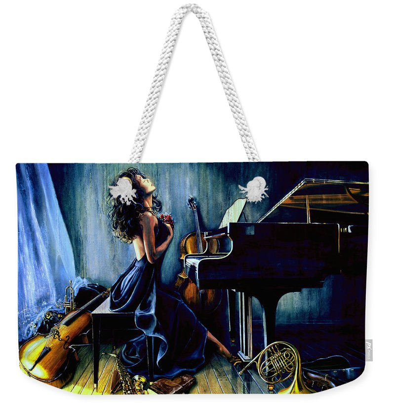 Musical Instrument Still Life Weekender Tote Bag featuring the painting Appassionato by Hanne Lore Koehler