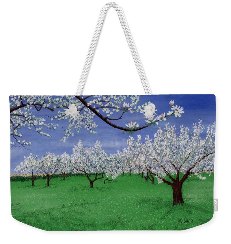 Apple Blossoms Weekender Tote Bag featuring the pastel Apple Blossoms by George Burr