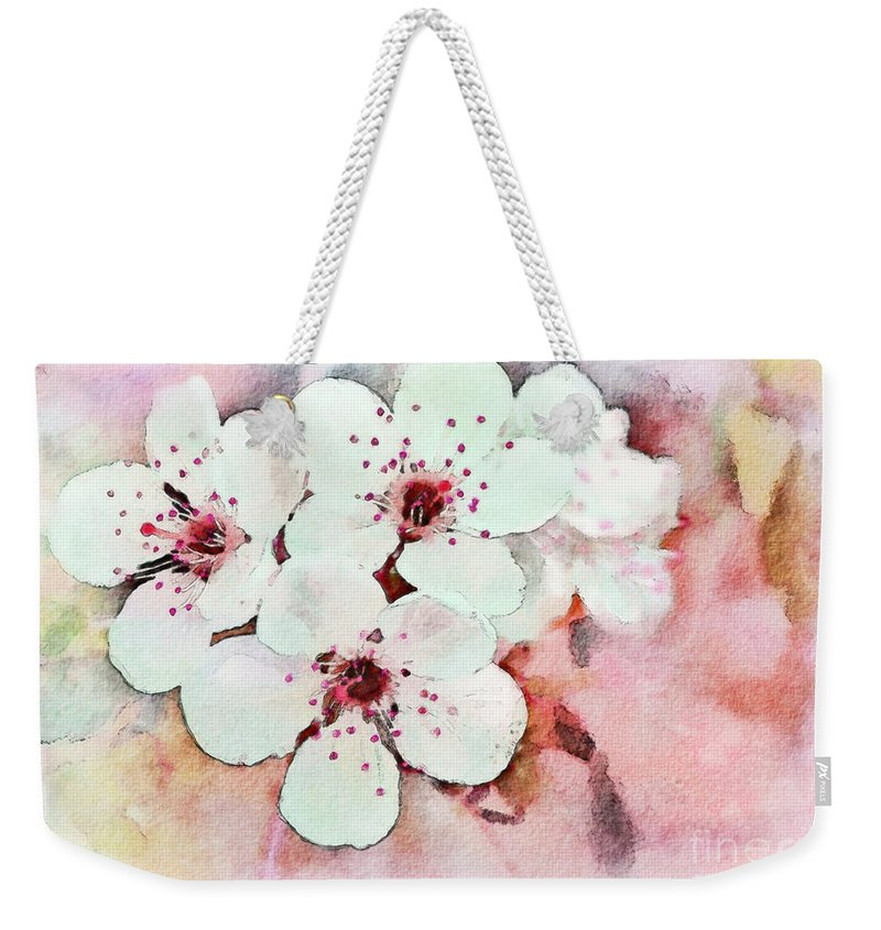 Pink Weekender Tote Bag featuring the photograph Apple Blossoms Pink - Digital Paint by Debbie Portwood